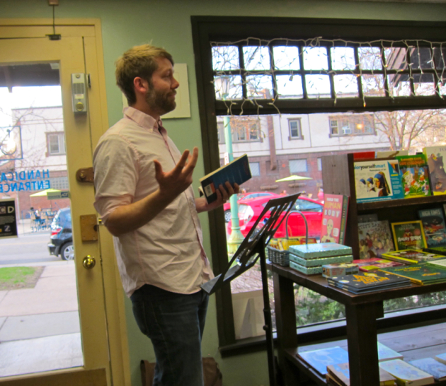 "Ethan Rutherford reads from ""The Peripatetic Coffin"" at his book launch at Micawber's."