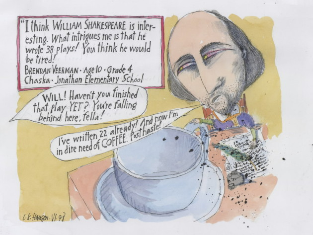 Wililam Shakespeare, as rendered by L.K. Hanson.