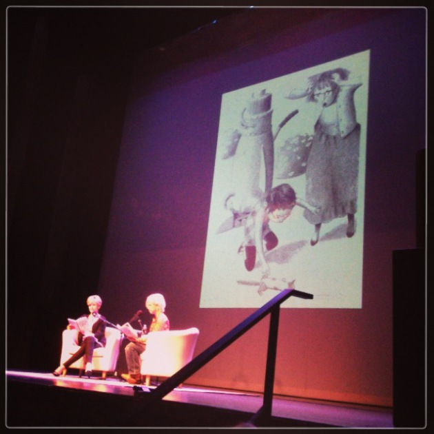 "Cathy Wurzer and Kate DiCamillo at the book launch of ""Flora & Ulysses."""