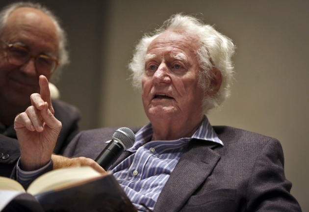 Robert Bly, with friend and colleague Thomas R. Smith in the background. Star Tribune photo by Renee Jones Schneider.