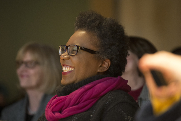 Claudia Rankine laughs at Marlon James' introduction. Star Tribune photo by Aaron Lavinsky