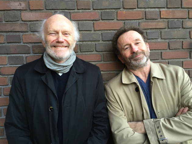Novelist Per Petterson (right) and Geir Berdahl, publisher at Oktober in Norway, which publishes both Petterson and Karl Ove Knausgaard