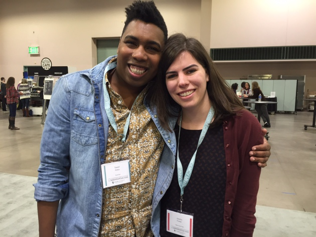 "Saeed Jones, author of ""Prelude to Bruise,"" and Amelia Foster of Coffee House Press."