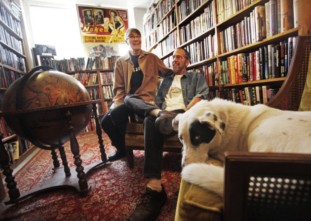 Pat Frovarp, Gary Shulze, and their dog, Shamus, at Once Upon a Crime bookstore in 2011.
