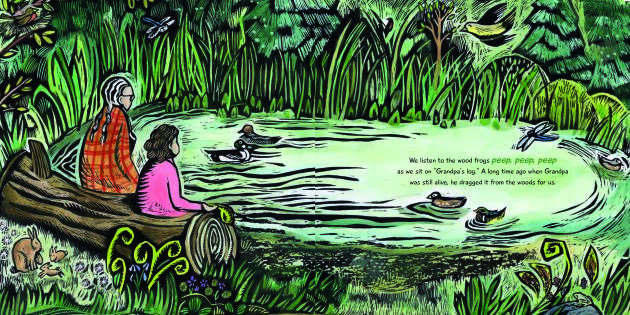 "An image from ""North Woods Girl,"" by Aimee Bissonette, illustrated by Claudia McGehee"