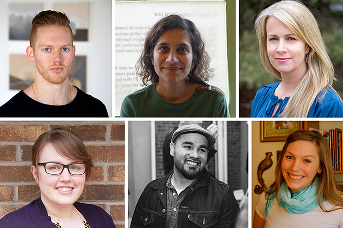 The six finalists for the Lindquist & Vennum Prize.From top left to right: Patrick Johnson, Soham Patel, Paige Riehl From bottom left to right: Caitlin Bailey, Michael Torres, Angela Voras-Hills
