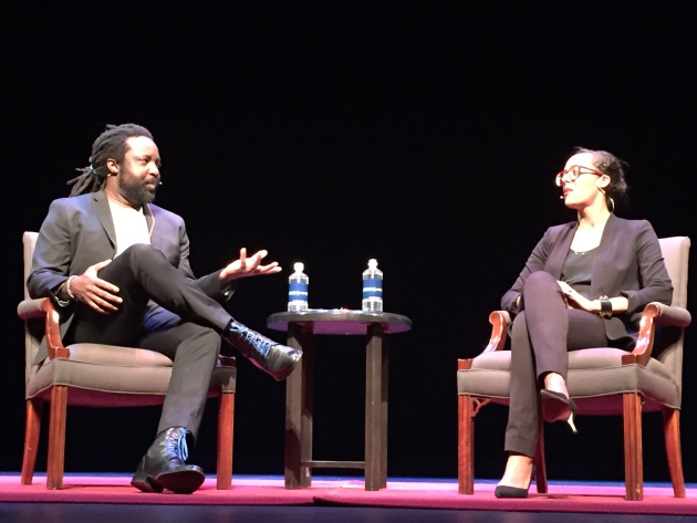 Marlon James and Lisa Lucas at the Guthrie Theater. Photo by Laurie Hertzel