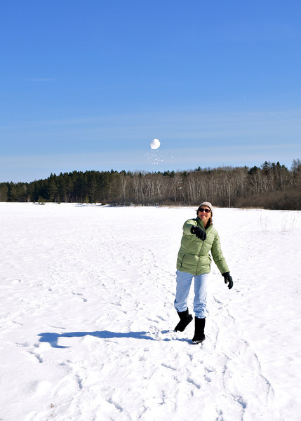 Connie Wanek on a frozen Hartley Field pond.