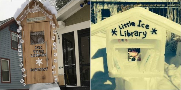 Iced-up libraries. Photos courtesy of Little Free Libraries