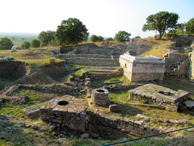 The ruins of Troy in the late afternoon. This was thought to be a holding/sacrificing ground for oxen.
