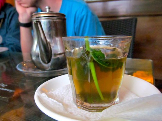 A glass of mint tea, served at a café in Fes.