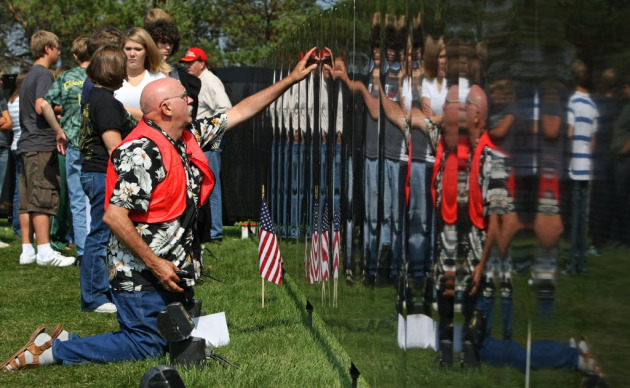 A travelling Vietnam Veterans Memorial wall visited Chisago Lakes in 2009