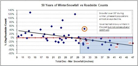 "As this graph illustrates, Iowa pheasant counts have never increased following winters with more than 31"" of snow."