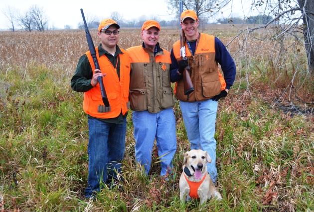 At the Minnesota Governor's Pheasant Hunt, this hunting party included, from left, Adam Prock, assistant chief of staff, Governor Mark Dayton and Nick Simonson, president of the Lyon County Pheasants Forever chapter.
