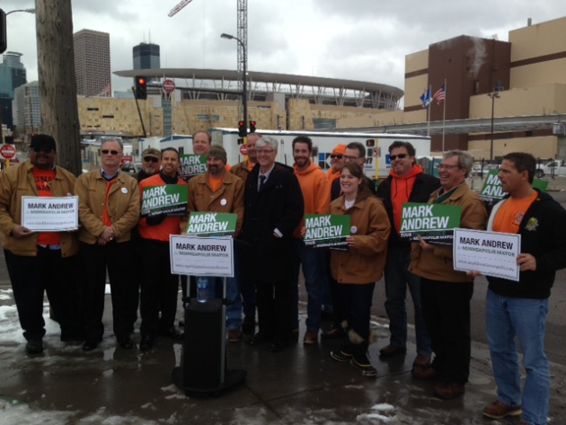 Mayoral candidate Mark Andrew is endorsed by the Minneapolis Building and Construction Trades Council