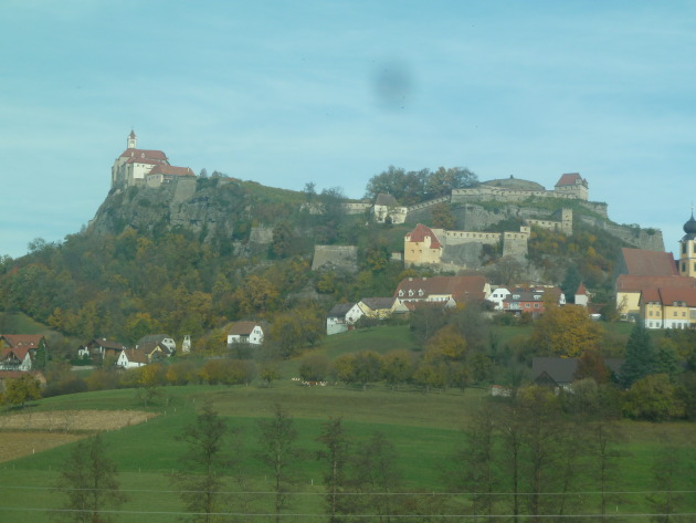 From a distance: Riegersburg from the car window.