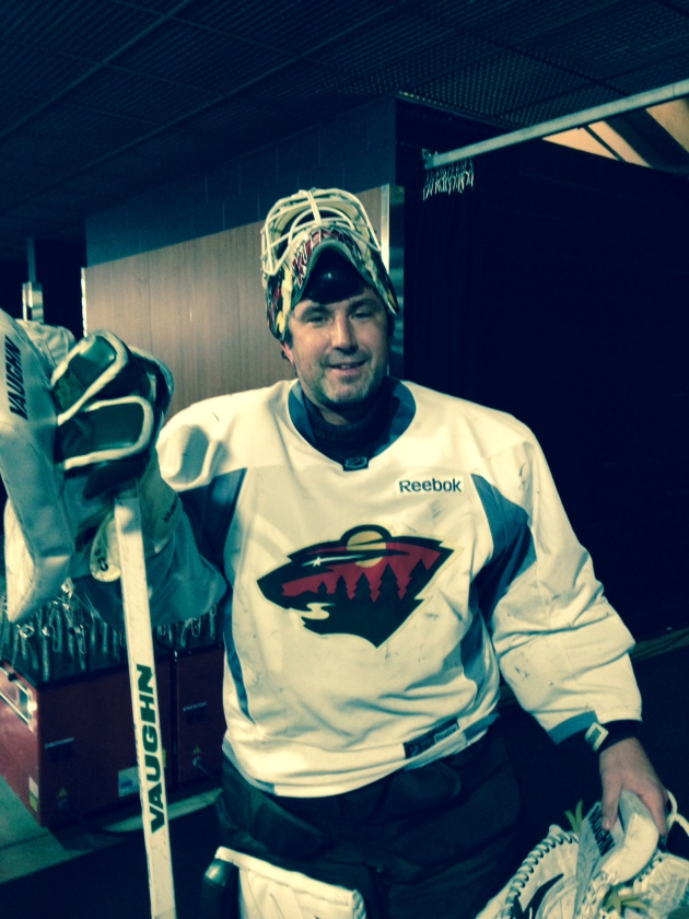 Andrew Brunette Humorously Tends Goal In Wild's Morning Skate Monday (with Pictures)