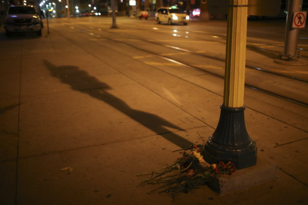 Flowers placed outside Epic, the club on 5th St. N. where patron Tyrone Washington, 27, of Crystal, was shot and killed Nov. 3. The case remains under investigation. Photo by Jeff Wheeler, Star Tribune.