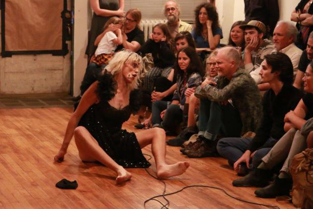 "Chicago-based Jill Flanagan (Forced into Femininity) performed at Saturday's ""Boiling Point"" salon at Fresh Oysters in south Minneapolis. (photo by Farrington Llewellyn)"