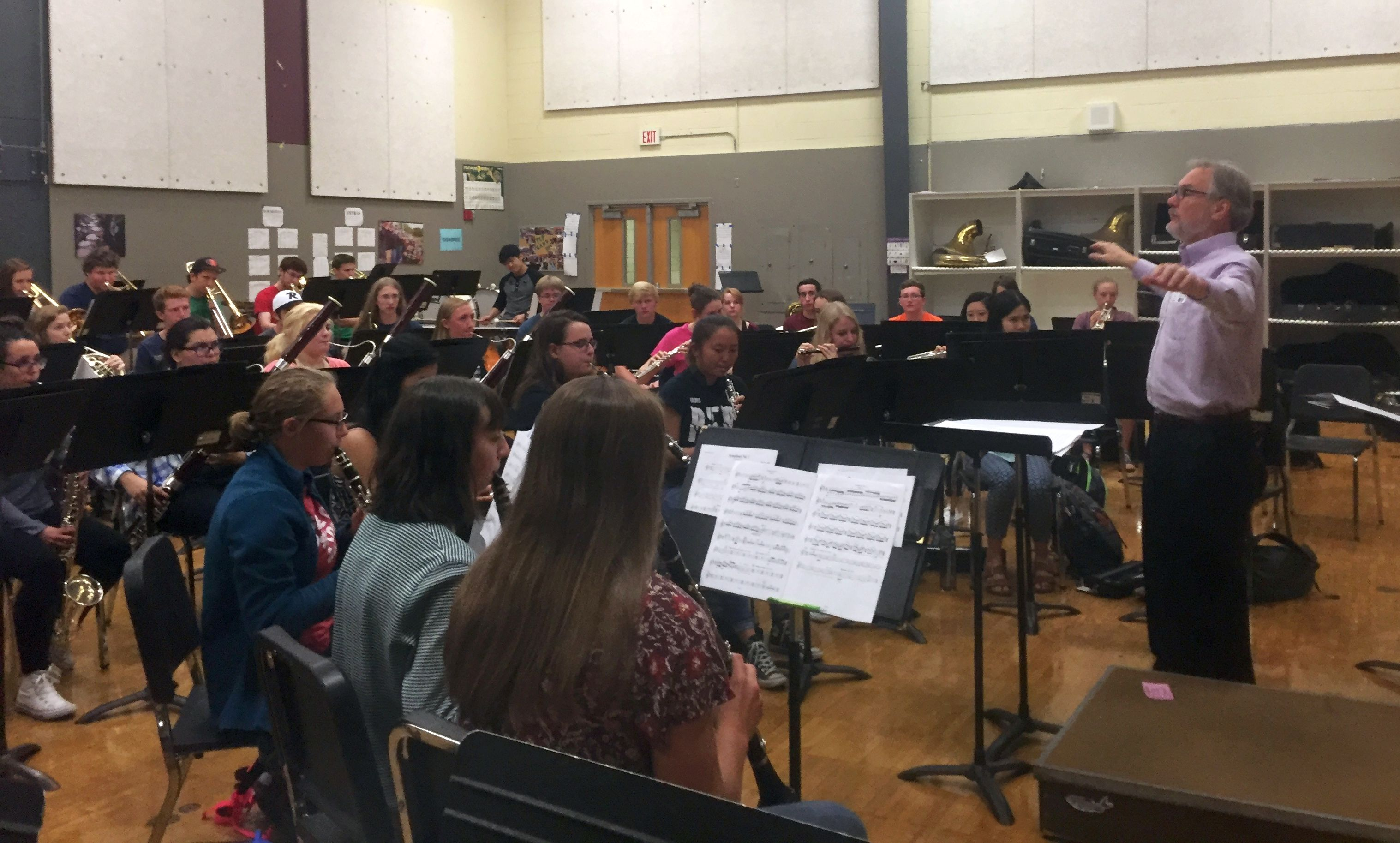 Timothy Mahr conducted the Roseville Area High School band in a rehearsal of his Symphony No. 1. (Photo by Matt Dehnel)