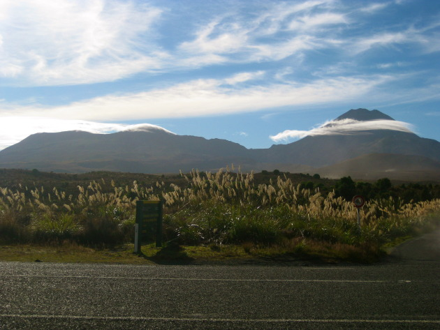 Tongariro on the left, Ngaurahoe on the right.