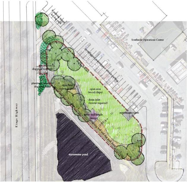 Concept design for dog park location using a portion of the operations center parking lot