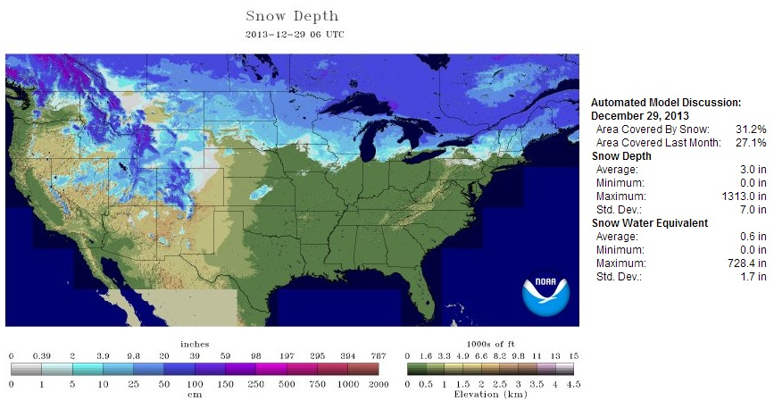 Us Snow Cover Map Globalinterco - Us snow coverage map
