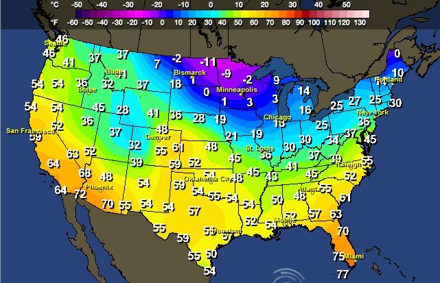On The Edge WeatherNation - Us average temperature map december