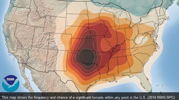 East Floods West Sizzles MayNot Over Central USA WeatherNation - Map of tornado frequency in us