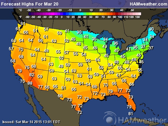 Beware The Ides Of March A Shot At F Sunday StarTribunecom - Us weather map march