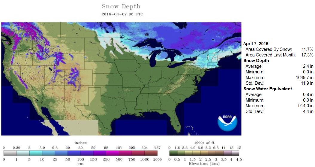 Scattered AM Snow Raw And Breezy PM Friday Hints Of May Return - Map of us snow cover