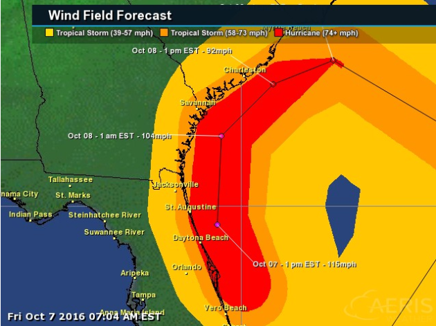 Matthew S Life Threatening Conditions Spreading Up Florida Coast