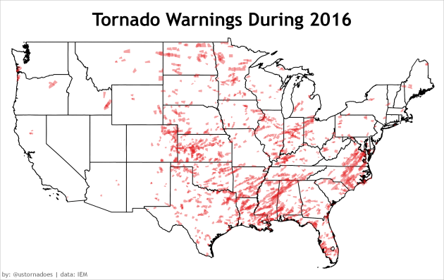 Tornado Warnings In 2016 Map Courtesy Of U S Tornadoes Which Points Out That The Heavy Warning Density From Central North Carolina To Southern Virginia
