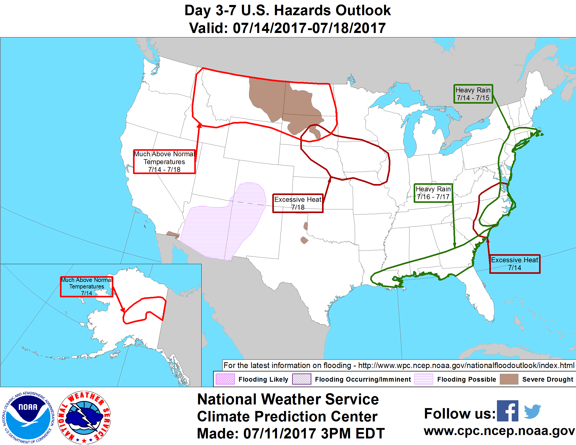 Slight Risk Of Much Above Normal Temperatures Extending From The Northern Rockies East To The Great Lakes Ohio Valley And Central Appalachians Wed Sun