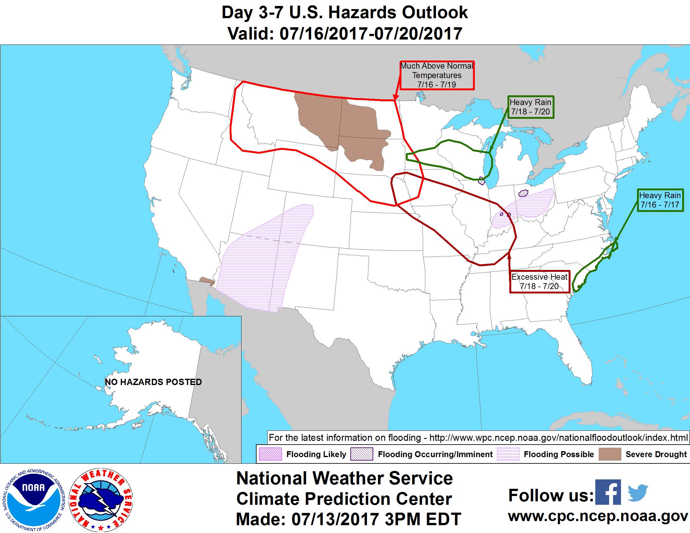 Nearly Perfect Sunday Heavy Rain Chances Ahead StarTribunecom - Map of the us hazards comic