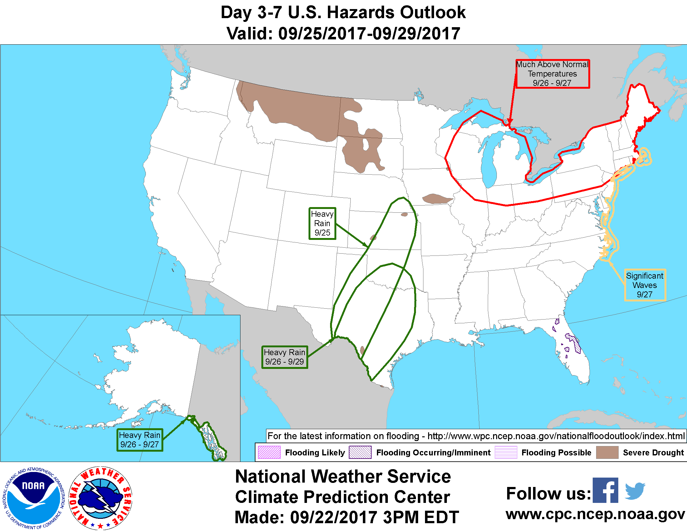 Flooding occurring or imminent across portions of the southeast 7 severe drought across the central plains the northern plains hawaii the northern