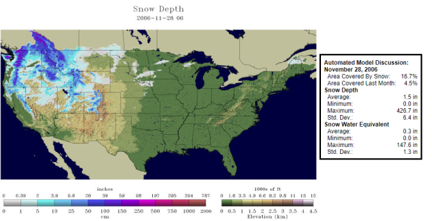 Current US Snow Cover Weathercom National Snow Analyses NOHRSC - Us snow cover map weather com