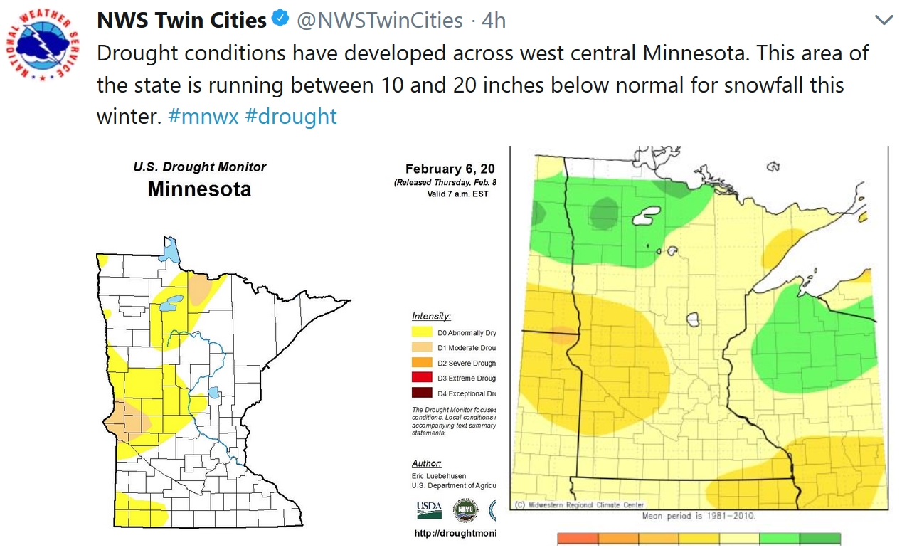 Moderate Drought West Central Minnesota – 20s and 30s Return Next Week