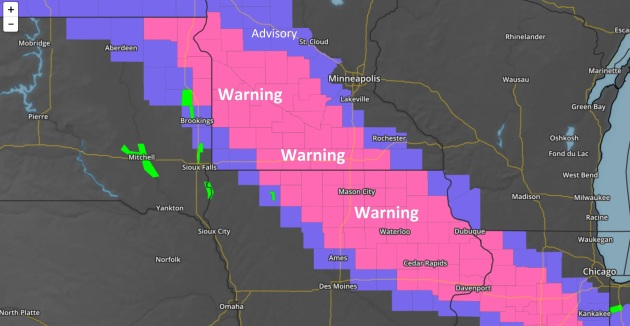 A Snowy Near-Miss.  Southern Minnesota Sees Heaviest Amounts