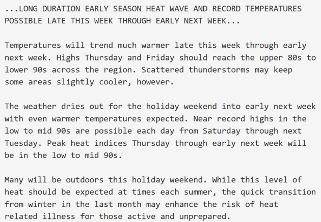 May Day Came Month Early This Year >> Early Heat Wave Coming Potential For 5 7 Consecutive Days Of 90s