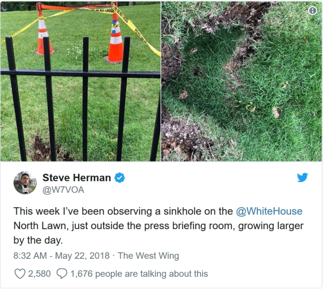 d16624b00806 An Actual Sinkhole Has Opened on the White House Lawn. It s Growing. A  sinkhole is growing on the north lawn of the White House grounds.