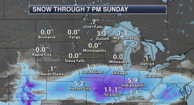 Heavy Snow St  Louis to Cincinnati Today – Brush with Slush