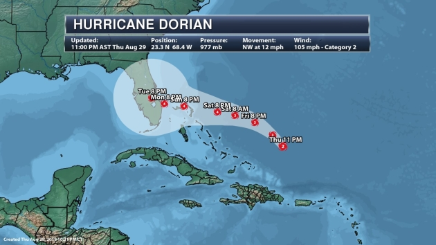 Hurricane Dorian May Hit Florida Monday as a Category 4 Storm