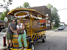 Karl and I enjoy our little adventure on the PedalPub in Nord'East, Minneapolis