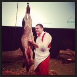 Darrio Cecchini and his pig. Photo by The Perennial Plate
