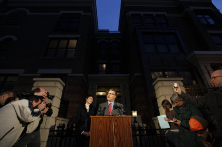 Sure, the photo is of Franken speaking of a 2009 election contest victory, but if you look to his right hiding from the cameras and holding the blue paper is McIntosh/SOURCE: Star Tribune file