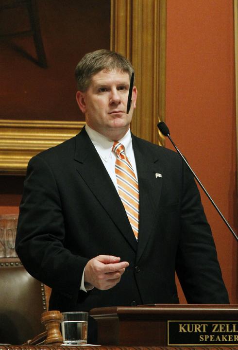 House Speaker Kurt Zellers' pen flipping from the rostrum