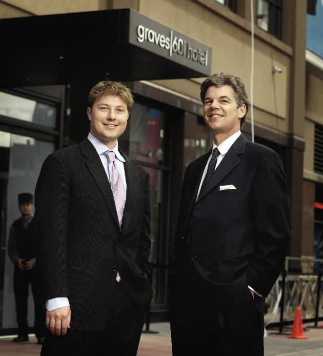 Jim Graves, with his son Ben, two years ago as the Minneapolis hotel was renamed Graves 601