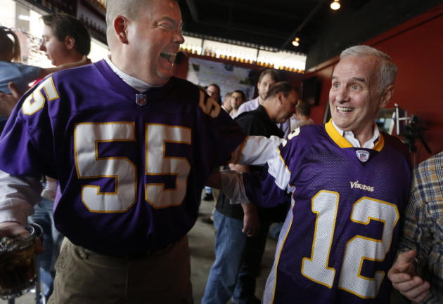Minnesota Gov. Mark Dayton as he rallied for a new Vikings stadium
