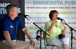 Amy Klobuchar and Kurt Bills in a State Fair debate/by Brian Peterson